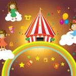 Vintage circus poster template vector — Stock Vector