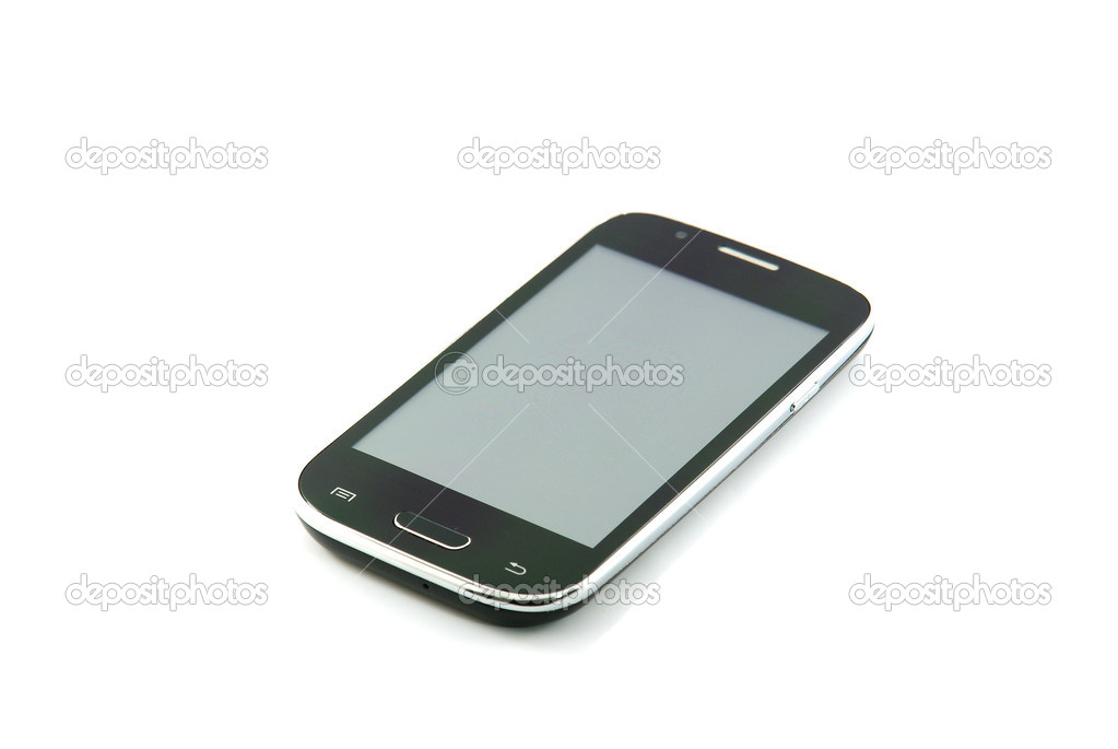 Black smartphone on white background — Stock Photo #12270817