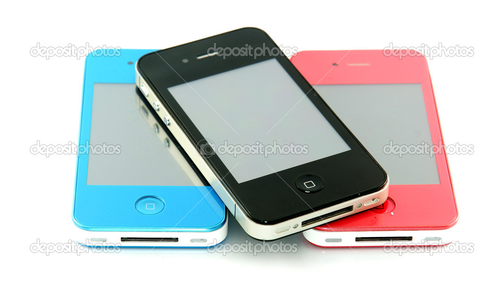 Black smartphone on white background — Stock Photo #12270894