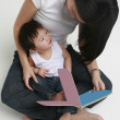 Woman and Child Reading — Stock Photo