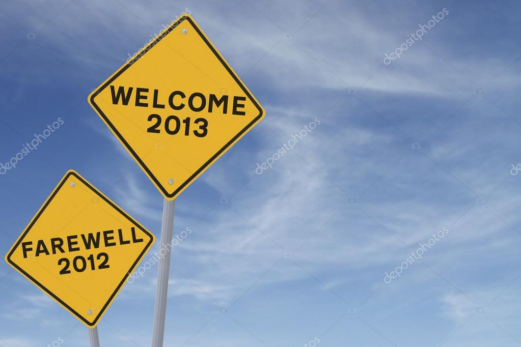 New Year conceptual road signs (against a blue sky background with copy space) — Stock Photo #12763216