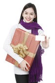 Young Lady With A Present — Stock Photo