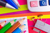 Stationeries on a background the coloured paper — Stock Photo