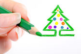 A new-year tree is drawn a pencil — Stock Photo