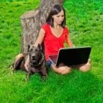 een meisje met een notebook zittend onder een boom samen met een hond — Stockfoto