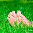 Royalty-Free Stock Photo: Womanish legs are in a green grass