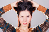 Рortrait of young beautiful woman of brunette — Foto Stock