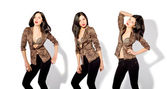 Beautiful slim woman in a leopard jacket in three positions — Stock Photo