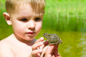 Acquaintance a little boy with a frog — Stock Photo
