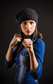 Young woman ready to fight. — Stock Photo