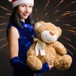 Snow Maiden with a toy bear — Stock Photo