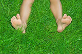 Female legs are in a green grass — Stock Photo