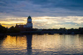 The castle in Vyborg at sunset — 图库照片