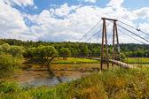 Suspension bridge, river Moscow, Vasilyevskoye's village — Stock Photo