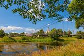 Suspension bridge, river Moscow, Vasilyevskoye's village — Стоковое фото