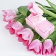 Pink tulips and gift box — Stock Photo #20350475