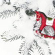 Christmas toy. Red wooden horse — Stock Photo
