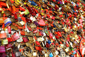 Love padlocks on a fence in Cologne — Stock Photo