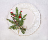 White plate with Christmas decoration — Stock Photo