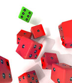 Group of falling red dices with one winning green — Stock Photo