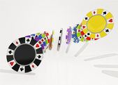 Five colorful types of poker chips air composition — Stock Photo