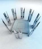 Starving cutlery around center plate — Stock Photo