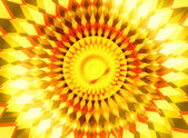 Trendy orange yellow sunrise center radiance background — Stock Photo