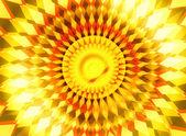 时尚橙色黄色日出中心光芒背景 — 图库照片