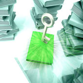 Green book with metallic key between several columns of another books with — Stock Photo