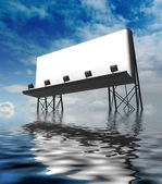 One clear billboards construction standing in water — Stock Photo