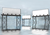 Three clear billboards construction standing in water — Stock Photo