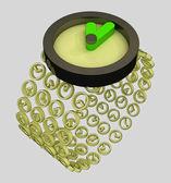 Närbild på moderna gyllene klocka konceptet illustration — Stockfoto