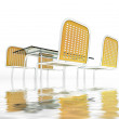 Glass table with metalllic tube chairs afload — Stock Photo