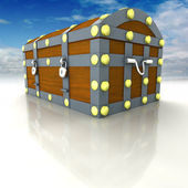 Wood metal chest with treasure and blue sky — Stock Photo