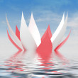 Постер, плакат: Red white petals waterlilly blossom on water level with sky