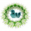 Blue second place text in champions wreath icon — Stock Photo