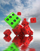 Group of rolling lucky dices with water — Stock Photo