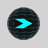 Isolated arrow right disco sphere web button — Stock Photo