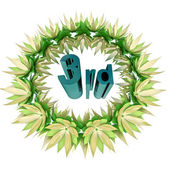 Blue third place text in champions wreath icon — Stock Photo