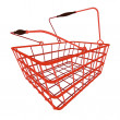 Stock Vector: Perspective view on red shopping hand basket