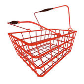 Perspective view on red shopping hand basket — Stock Vector