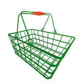 Perspective view on green shopping hand basket — Vettoriale Stock