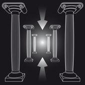 Manier van crisis met oude Griekse kolommen — Stockvector