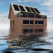 Afloated sustainable brick house with clouds — Stock Photo