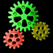 Green cogwheel coordinate teamworking — Foto Stock
