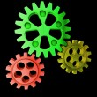 Green cogwheel coordinate teamworking — Foto de Stock