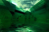 Abstract afloat green architecture space — Stock Photo