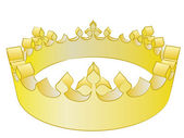 Medieval gold king winner crown vector illustration — Stock Photo