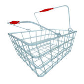 Metal blue shopping hand basket perspective — Stock Photo
