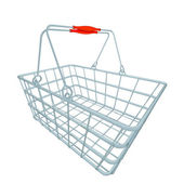 Perspective metal blue shopping hand basket — Stock Photo